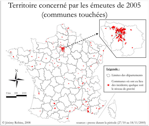 Map of France (riots)